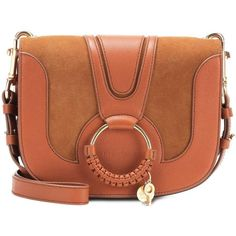 See By Chloé Hana Medium Leather and Suede Shoulder Bag (£495) ❤ liked on Polyvore featuring bags, handbags, shoulder bags, brown, brown leather shoulder bag, genuine leather purse, brown suede handbag, suede handbags and brown shoulder bag