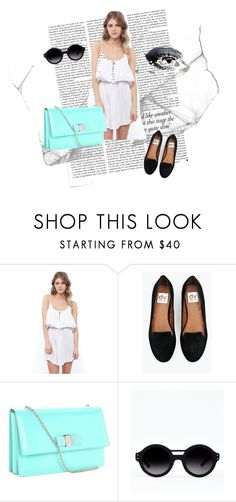 """""""simplicity with colour"""" by lindsayyxx ❤ liked on Polyvore featuring Victoria Beckham, Rusty, Salvatore Ferragamo, loafers, bag, dress, blue, vintage, white and sunny"""