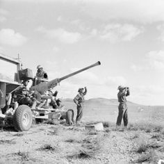 The crew of a 40mm Bofors anti-aircraft gun watch the sky after a Stuka raid during the 8th Army's advance on Tripoli, 29 January 1943.