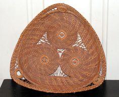 Vintage Pine Needle Basket Tray by retrosideshow on Etsy