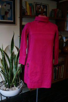 vintage 60s 70s wool pink mini dress round pocket twiggy mod 1960s 1970s