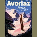 Avoriaz, French Ski travel poster, Avoriaz France holiday skiing poster. Avoriaz is a French mountain resort in the heart of the Portes du Soleil. It is located in the territory of the commune of Morzine..