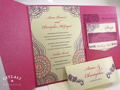 Henna Floral Paisley Indian Wedding Invitations by citlali