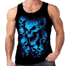 Velocitee Mens Vest Blue Ghost Skulls Horror Evil Death Skeletons Biker A18634 #Velocitee
