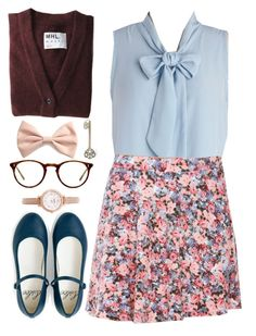 Thinking About You by vintagenerd8 on Polyvore featuring polyvore, fashion, style, MHL by Margaret Howell, FOSSIL, Forever 21 and Oliver Peoples