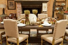 Our fall harvest look. ---I gotta get some wheat! Fall Table, Fall Harvest, Autumn Inspiration, Table Linens, Tablescapes, Creative Design, Table Settings, Homes, Decorating