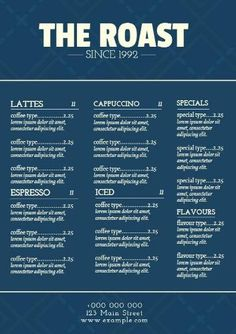 A dark blue cafe menu with beige fonts and a bold header, to show your customers what you are offering. Create your own modern design in minutes. Blue Menu, Blue Cafe, Menu Template, Header, Latte, Create Your Own, Modern Design, Dark Blue, Fonts