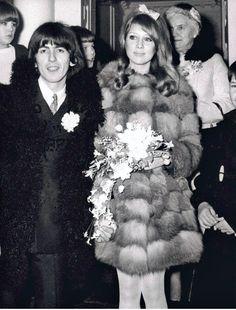 George Harrison and Pattie Boyd's wedding, January 21 1966 #fur #pattie_boyd #george_harrison