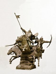 Historical Character Statues / sculpture by artist Zakir Ahmedov titled: 'Charge (Cavalry Charge of Tartars, Mongols sculptures/statuette)'