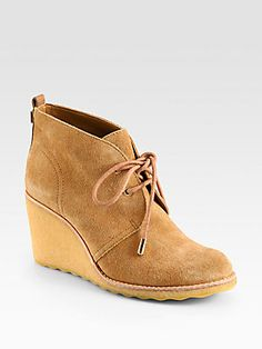 Tory Burch Vicki Suede Lace-Up Wedge Ankle Boots