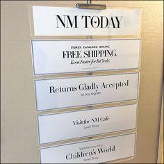 Neiman Marcus Today Itemized Itinerary Short Hills Mall, Neiman Marcus Store, Store Signage, Store Fixtures, Retail, Sleeve, Retail Merchandising