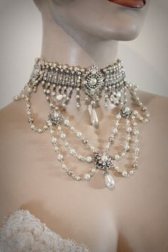 love the drops, all a bit chunky though, seems a little crowded somehow?   Victorian choker bib necklace.