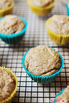 {Dairy-free, Egg-free} Spiced Applesauce Muffins ~ this cinnamon-laced batter can be baked up to make a dozen dairy-free, egg-free muffins, or it also makes a perfect first birthday cake with no worries about potential food allergens | {Five Heart Home}