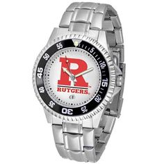 """Rutgers Scarlet Knights NCAA """"Competitor"""" Mens Watch (Metal Band) by SunTime. $84.59. Rotating Bezel. Color Coordinated. Calendar Date Function. Showcase the hottest design in watches today! A functional rotating bezel is color-coordinated to compliment your favorite team logo. A durable, long-lasting combination nylon/leather strap, together with a date calendar, round out this best-selling timepiece."""