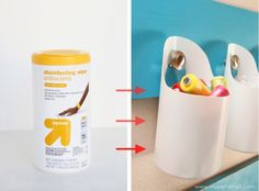 Hanging Storage Bins...made from old Sani-Wipe Containers.  Yay for low budget wonders! :)  www.makeit-loveit.com #repurpose #diy