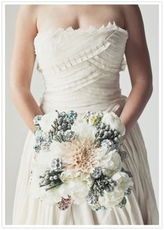 faded color bouquet Not exactly me but I love the top/detail of this dress. The bouquet is interesting. Boutonnieres, Wedding Bouquets, Wedding Gowns, Cool Winter, Vintage Wedding Flowers, Winter Wedding Inspiration, California Wedding, Southern California, Wedding Styles