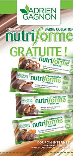 Barre collation Nutriforme gratuite.  http://rienquedugratuit.ca/nourriture/barre-nutriforme-gratuite/