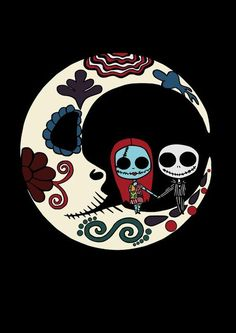 Jack and Sally Moon Nightmare Before Christmas, Jack und Sally auf Sugar Skull Moon, Super Cool Tim Burton Kunst, Tim Burton Art, Jack Und Sally, Jack And Sally Quotes, Nightmare Before Christmas Tattoo, Nightmare Before Christmas Wallpaper, Sugar Skull Art, Tattoo Sugar Skulls, Halloween Art