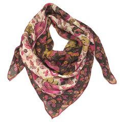Floral silk shawl Square scarf Flower print Pink floral