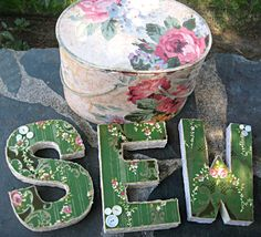 Vintage wallpapered letters SEW artwork for by LittleBeachDesigns, $30.00
