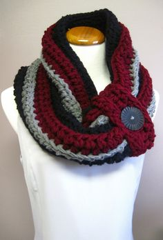 Chunky Bulky Button Crochet Cowl:  Black, Wine & Gray with Black Button, via Etsy