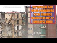 Excavators Demolishion Highrise Timelapse Zeitraffer Hochaus Duisburg Day 12 - YouTube
