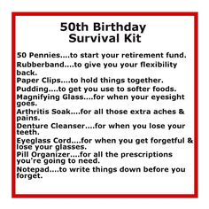 Humorous birthday survival kit! Mark a milestone birthday with these funny 50th birthday gift ideas.