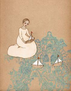 Sail Away Mate Edition Print of original drawing. $15.00, via Etsy.