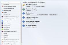 Firefox about:permission Seite zur Einstellung der Berechtigungen der Websites