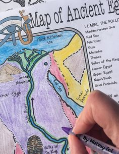 Students will learn about important places in the Ancient Egypt civilization as they label and color a map. It's also a great way to incorporate geography in your lesson. Use this with your 4th, 5th, 6th, 7th, 8th, 9th, or 10th grade classroom and homeschool students! Upper elementary, middle school, and high school approved! Great for your next ancient civilizations lesson or unit!