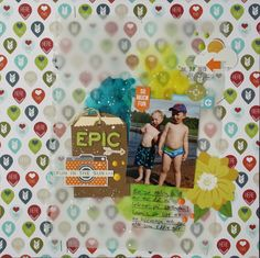Saras pysselblogg - Sara Kronqvist: Epic | Scrapbook layout with vellum sheet, Liquitex fluid ink and some cute decorations