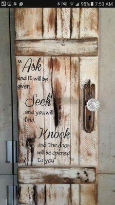 ask-seek-knock-rustic-door-sign-with - DIY Crafts - Pallet Pallet Crafts, Pallet Art, Pallet Signs, Pallet Projects, Diy Crafts, Crafts To Sell, Pallet Ideas, Barn Wood Crafts, Frame Crafts