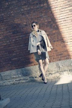 Wearing Maska dress and shoes, Karen Millen trench coat and Marie Saint-Pierre clutch. Karen Millen, Outfit Posts, The Selection, Maternity, Coat, Trench, How To Wear, Jackets, Outfits