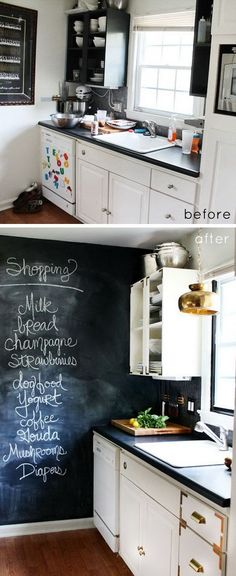 Tiny Kitchen Makeover: Add Stylish and Glamour. This tiny kitchen is adorable. I love the embellished gilded corner brackets on all drawers  and cupboards, the blackboard painted wall, and that they replaced the corner cabinet with the open glass shelving. The  beautiful chandelier in copper color  adds to glamour.