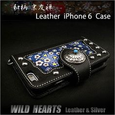 Genuine Leather iPhone 6 Flip Case Japanese Pattern/Design YUZEN WILD HEARTS Leather&Silver(ID ip2852r56)   http://item.rakuten.co.jp/auc-wildhearts/ip2852r56/