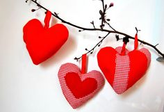 Soft Ornaments Hearts ornaments Red hearts by Lemiecreazionidarte, €16.00