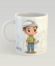 Ing Civil, Engineer Mug, Cartoon Art Styles, Shoe Storage, Mugs, Fictional Characters, Pasta Flexible, Cupcakes, Decor Ideas