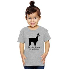 Drama Llama Toddler T-shirt is designed by jessicanastasia and printed in U. Buy this item or personalize it at Kidozi. Kids Wear, Drama, Embroidery, Children, T Shirt, Baby, Animals, Spirit, Design