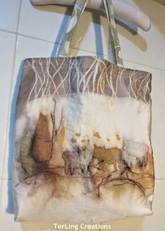 Roaming cows - eco prints on tote bag. bloghttp://terriekwong.blogspot.hk/2014/07/leaves-painting-tote-bags.html