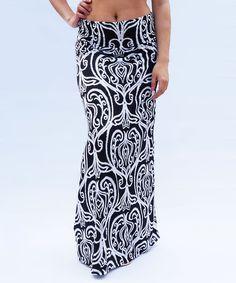 Black Suzani Fold-Over Maxi Skirt | zulily