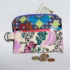 Change Purse Wallet Zipper Fabric Orchid Teal by mylifeinfabric, $14.00