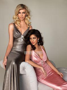 Sexy Low V-neck Halter Straps Empire Prom Evening Dress PD10530