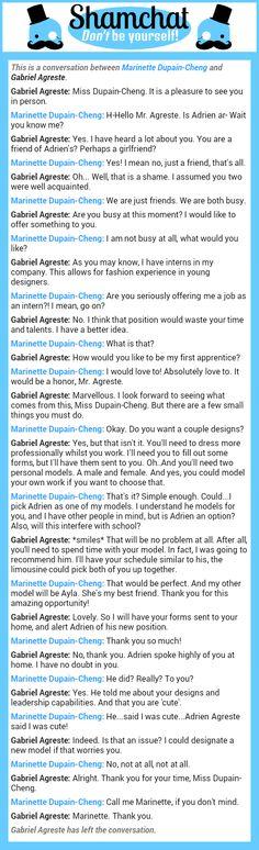 A conversation between Gabriel Agreste and Marinette Dupain-Cheng