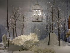 i love the trees with the lights  Kaiser fashion house windows, Freiburg   Germany visual merchandising