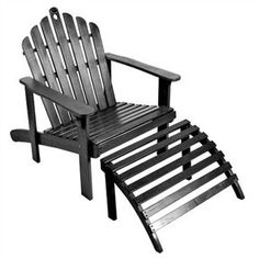 This Acacia Hardwood Adirondack Chair With Ottoman In Black Is Made Of  Acacia Hardwood And Is