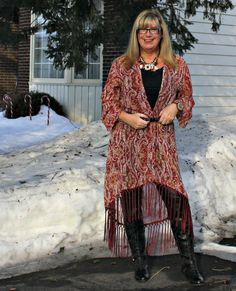 Statement Necklace with a Target Fringe duster and lace up boots with leather leggings #targetfashion #fashionover50 #40plusstyle #ootd