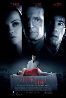 """After.Life"" (dir. Agnieszka Wojtowicz-Vosloo, 2009) --- After a horrific car accident, Anna (Christina Ricci) wakes up to find the local funeral director Eliot Deacon (Liam Neeson) preparing her body for her funeral. Trapped inside the funeral home, with nobody to turn to except Eliot, Anna is forced to face her deepest fears and accept her own death. But Anna's grief-stricken boyfriend Paul (Justin Long) still can't shake the nagging suspicion that Eliot isn't what he appears to be."