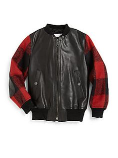 Burberry Boy's Leather & Wool Check Bomber Jacket