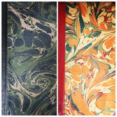 Marbled covers of antique Danish books.