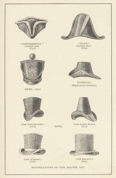 Types of men's hats, 18th-19th Century
